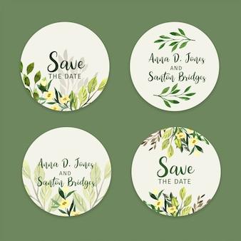 Zestaw naklejek ślubnych, etykiet zieleni akwarelowej
