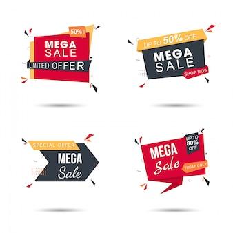 Zestaw naklejek sprzedaż w kolorze żółtym i czerwonym z różnymi ofertami rabatowymi