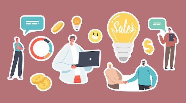 Zestaw naklejek strategii sprzedaży w biznesie, biznesmenów i przedsiębiorców, żarówka i wykres kołowy ze statystykami lub informacjami analitycznymi i pieniędzmi. ilustracja wektorowa kreskówka ludzie