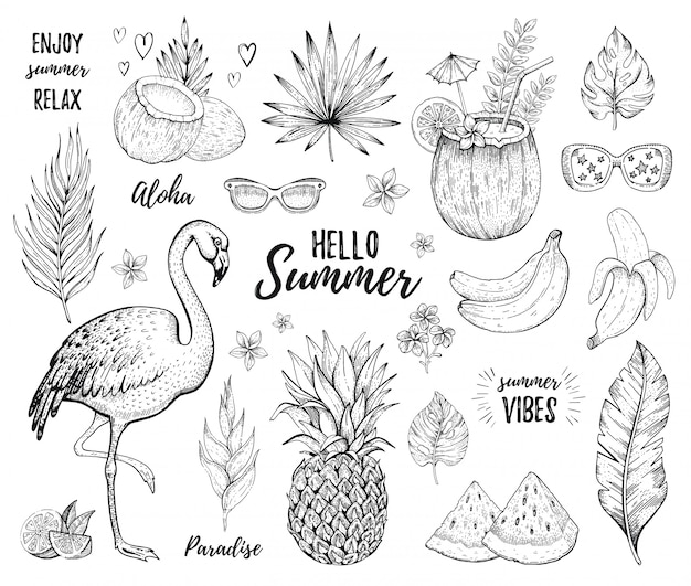 Zestaw naklejek summer tropic. flamingo, koktajl, liść palmy dżungli, owoce egzotyczne. ręcznie rysowane sztuki w stylu vintage. fajny doodle ananas, arbuz, napój kokosowy, banan. śliczna ilustracja, biały tło