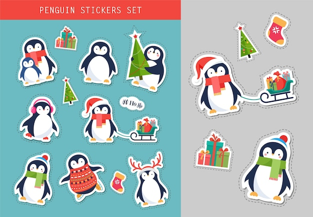 Zestaw naklejek świątecznych pingwina