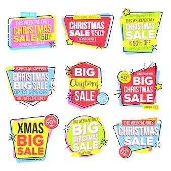 Zestaw naklejek świątecznych sprzedaży duży