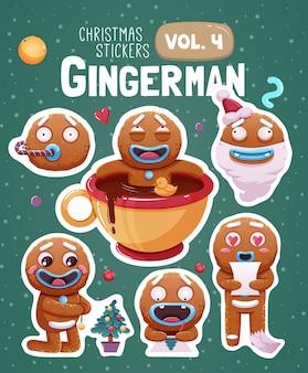 Zestaw naklejek świątecznych z ekspresyjnymi ciasteczkami z piernika.