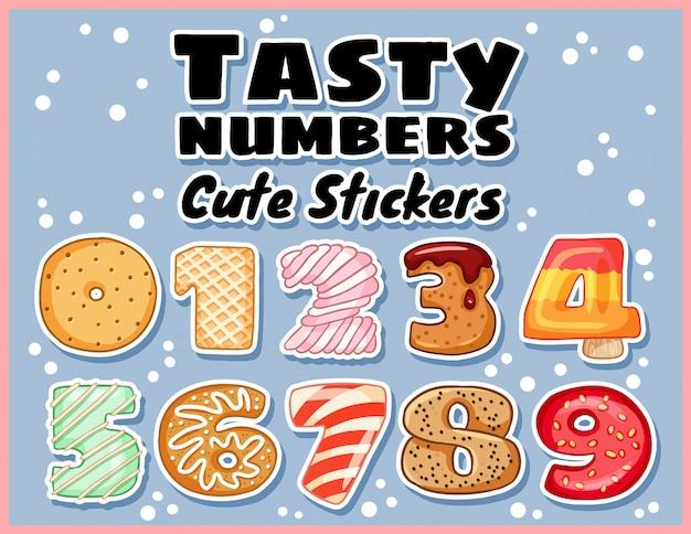 Zestaw naklejek symboli smaczne numery