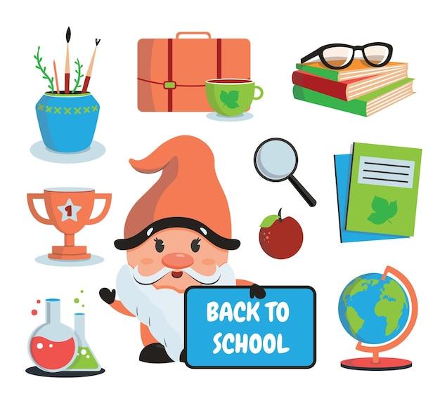 Zestaw naklejek szkolnych z tekstem krasnala i ikonami globus zeszyty książki