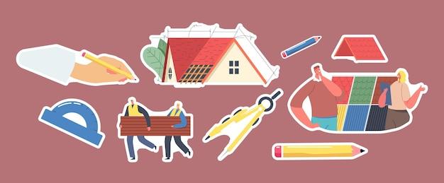 Zestaw naklejek temat projektu dachu. projekt rysowania ręcznego ołówkiem, dekarze niosą kafelki, postać klienta wybierz projekt, kompas, kątomierz i plan lub model. ilustracja wektorowa kreskówka ludzie