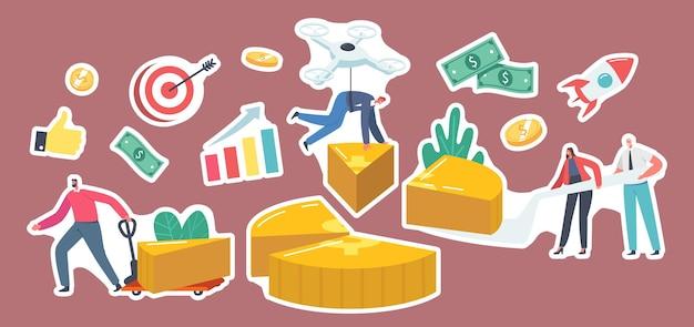 Zestaw naklejek tematu udziału zysku. biznesmeni i kobiety biznesu stoją na ogromnym wykresie kołowym, pokazującym partnerów, udziały pieniężne, udziały w dywidendach dla inwestorów. ilustracja wektorowa kreskówka ludzie