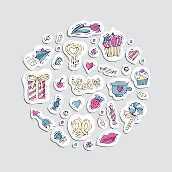 Zestaw naklejek w naszywki i szpilki z kreskówkową miłością, cukierkami, sercami. różne naklejki. szalone gryzmoły na walentynki.