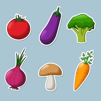 Zestaw naklejek warzywnych.