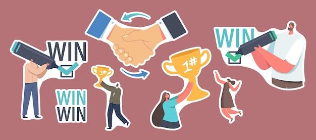 Zestaw naklejek wygraj strategię rozwiązania tematu. partnerzy biznesowi znaki umowa, partnerstwo, umowa. przedsiębiorcy z gold cups udane negocjacje. ilustracja wektorowa kreskówka ludzie