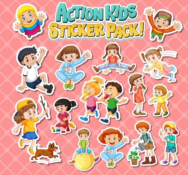 Zestaw naklejek z dziećmi wykonującymi różne czynności