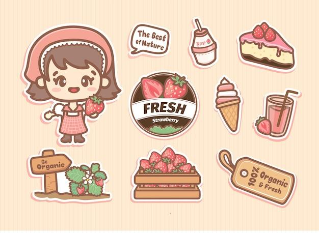 Zestaw naklejek z elementami farmy truskawek z uroczą dziewczynką, logo i różowymi produktami truskawkowymi. styl kawaii