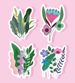 Zestaw naklejek z kwiatami i liśćmi ilustracji dekoracji przyrody