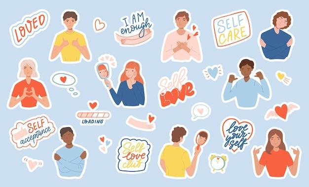 Zestaw naklejek z ludźmi, frazami motywacyjnymi i sercami. pojęcie pozytywnego ciała, miłości własnej i samoakceptacji. ilustracja kreskówka płaski