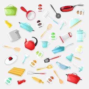 Zestaw naklejek z naczyniami w stylu kreskówki
