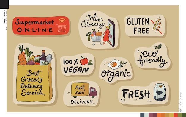 Zestaw naklejek z napisami. koncepcja sklepu spożywczego online.