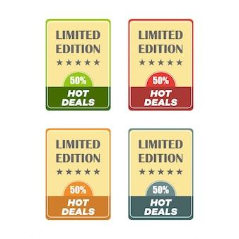 Zestaw naklejek z płaskim wzorem sprzedaży ilustracje wektorowe do promocji produktów promocyjnych online strony internetowe i witryny sieci web mobilne odznaki reklamowe drukuj materiały