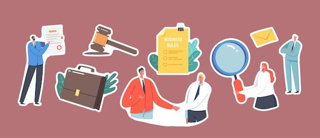 Zestaw naklejek z postaciami biznesowymi, drżenie rąk, młotek, teczka i bizneswoman z lupą, dokument regulaminu biznesowego, zgodność firmy. ilustracja wektorowa kreskówka ludzie