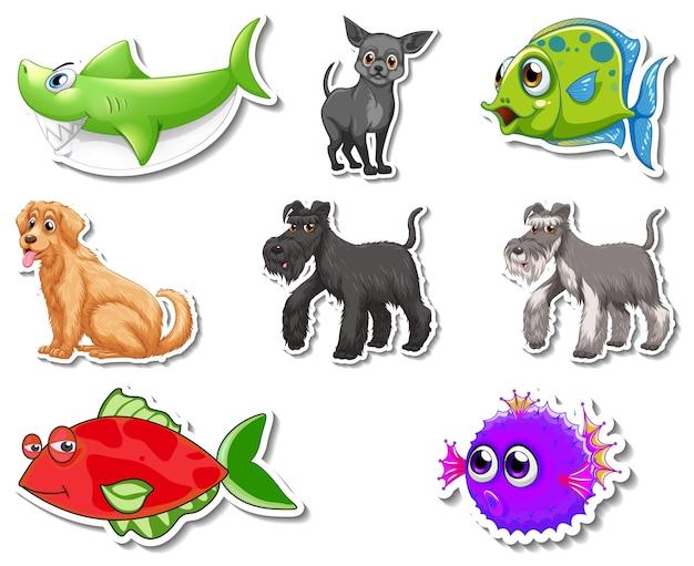 Zestaw naklejek z postaciami z kreskówek zwierząt morskich i psów