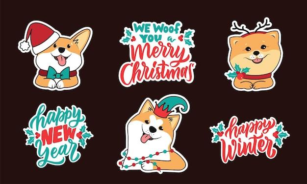 Zestaw naklejek z psami i cytatami o szczęśliwego nowego roku wesołych świąt szczęśliwej zimy