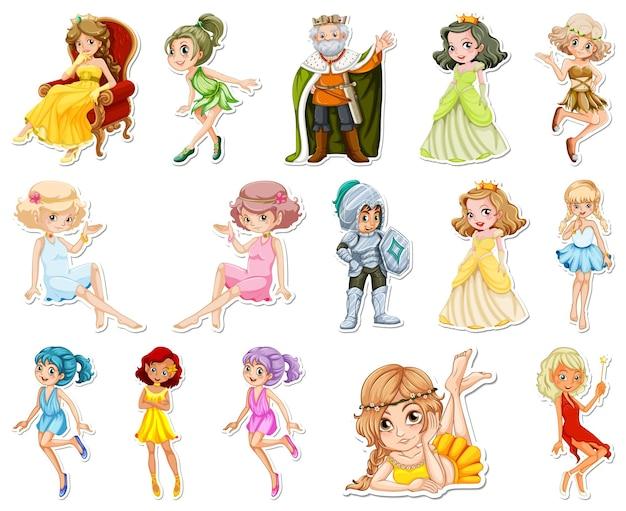 Zestaw naklejek z różnymi bajkowymi postaciami z kreskówek