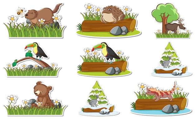 Zestaw Naklejek Z Różnymi Dzikimi Zwierzętami I Elementami Przyrody Darmowych Wektorów