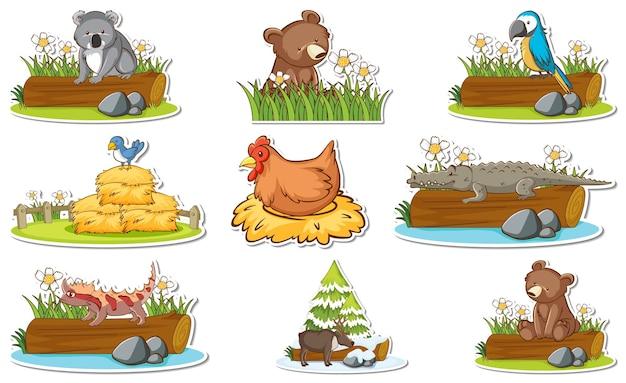 Zestaw naklejek z różnymi dzikimi zwierzętami i elementami przyrody