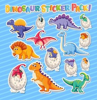 Zestaw Naklejek Z Różnymi Rodzajami Postaci Z Kreskówek Dinozaurów Darmowych Wektorów
