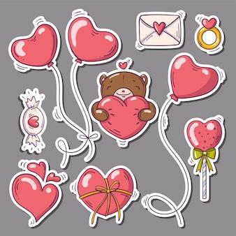 Zestaw naklejek z sercami i innymi w stylu bazgroły
