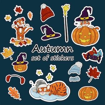Zestaw naklejek z symbolem tygrysa roku według chińskiego kalendarza. naklejki z jesiennymi elementami, dynia na halloween, kapelusz wiedźmy, jesienne liście. styl kreskówki wektor