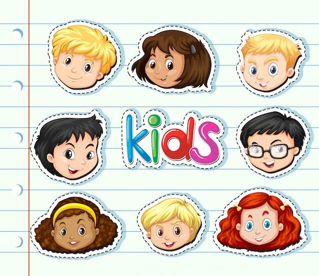 Zestaw naklejek z twarzami dzieci