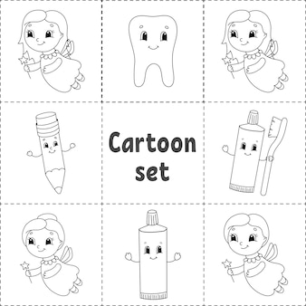 Zestaw naklejek z uroczymi postaciami z kreskówek. kolorowanka dla dzieci.