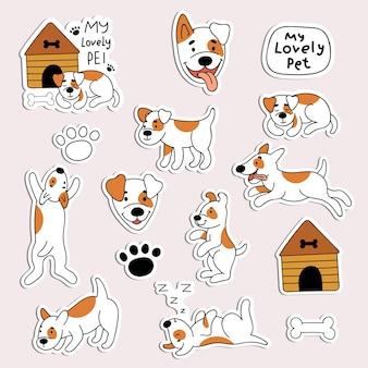 Zestaw naklejek z uroczymi psami. zwierzęta domowe, zwierzęta, szczeniak. ilustracja w stylu doodle