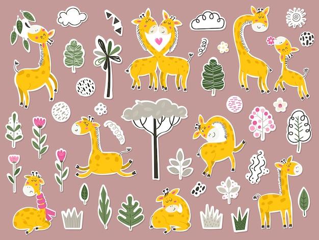 Zestaw naklejek z uroczymi żyrafami i przedmiotami.