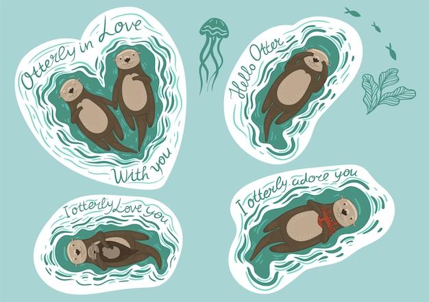 Zestaw naklejek z wydrami morskimi i napisami. grafika.