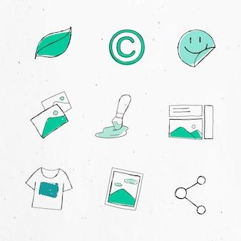 Zestaw naklejek z zielonymi ikonami marketingu