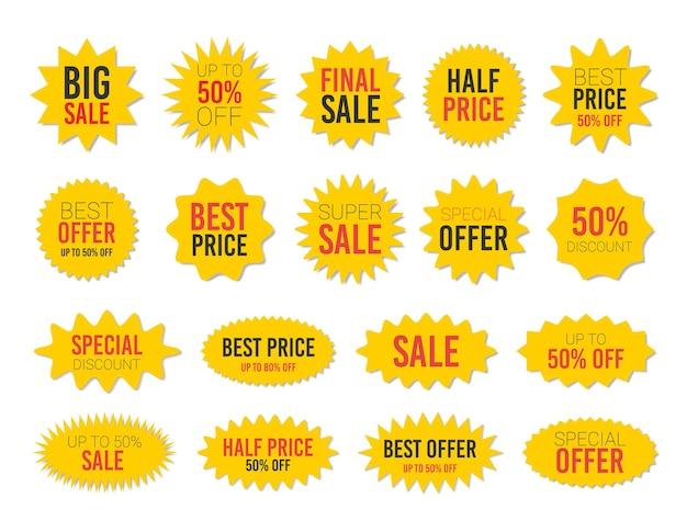 Zestaw naklejek z żółtą wyprzedażą w kształcie gwiazdy - kolekcja popatrzonych okrągłych i owalnych etykiet i odznak z najlepszą ofertą i rabatem