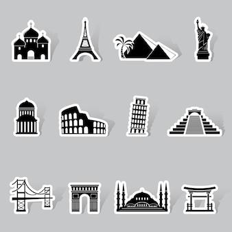 Zestaw naklejek zabytków