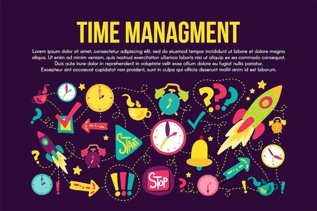 Zestaw naklejek zarządzania czasem. ilustracje kreskówek. rysunki kreskowe z napisem, copyspace