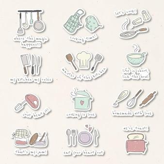 Zestaw naklejek ze słodkimi przyborami kuchennymi