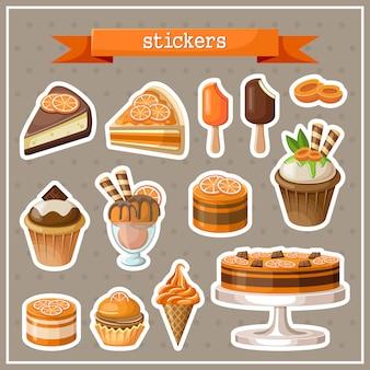 Zestaw naklejek ze słodyczami, ciastami, lodami i babeczkami