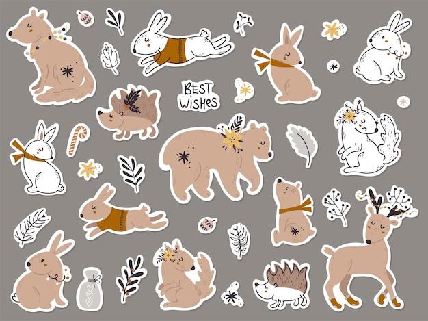 Zestaw naklejek ze zwierzętami leśnymi. ilustracja wektorowa na kartki okolicznościowe, zaproszenia świąteczne i scrapbooking