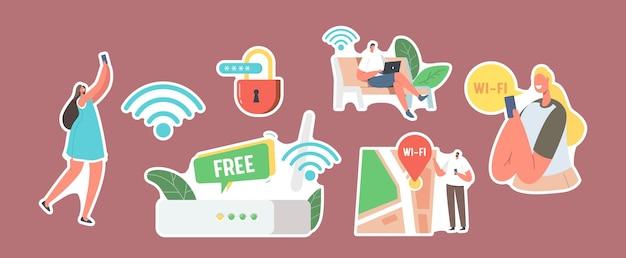 Zestaw naklejek znaków korzysta z internetu na laptopie i smartfonie za pośrednictwem połączenia routera bezprzewodowego wi-fi. nowoczesna technologia sieciowa, bezpłatny hotspot wi-fi, geolokalizacja mapy. ilustracja wektorowa kreskówka ludzie