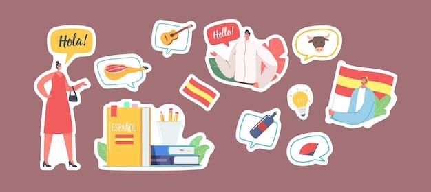 Zestaw naklejek znaków nauczyć się języka hiszpańskiego. kobieta mówi hola, mężczyzna z flagą hiszpanii, podręcznik, butelka wina i wentylator, edukacja, żarówka, lekcja języka hiszpańskiego. ilustracja kreskówka wektor