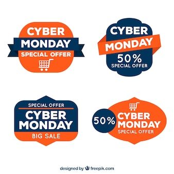 Zestaw naklejek zniżki na cyber poniedziałek
