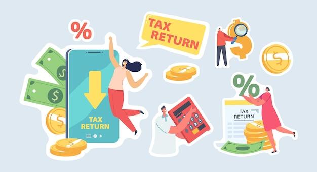 Zestaw naklejek zwrotu podatku. szczęśliwe postacie męskie i żeńskie otrzymują zwrot pieniędzy na smartfonie za zakupy lub zakupy w sklepie internetowym. ludzie gospodarka oszczędza pieniądze. elementy ilustracji wektorowych kreskówka
