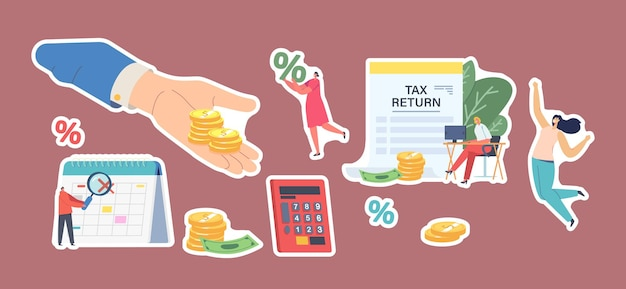 Zestaw naklejek zwrotu podatku. szczęśliwe postacie męskie i żeńskie otrzymują zwrot pieniędzy za zakupy lub zakupy w sklepie. ręka z monetami, ekonomia ludzi, oszczędność budżetu. elementy ilustracji wektorowych kreskówka