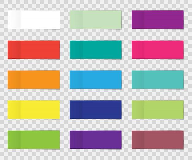 Zestaw naklejki postu na białym tle. papierowa taśma klejąca z cieniem. kije do notatek biurowych w kolorze