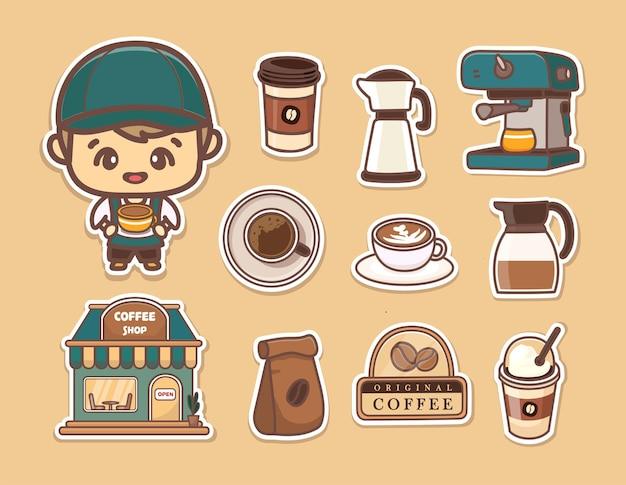 Zestaw naklejki słodkie barista, kawiarnia, różne kawy, ekspres do kawy i narzędzia. styl kreskówki kawaii