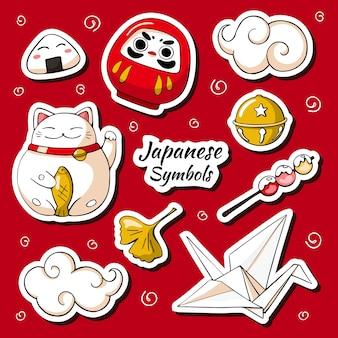 Zestaw naklejki symboli japonii